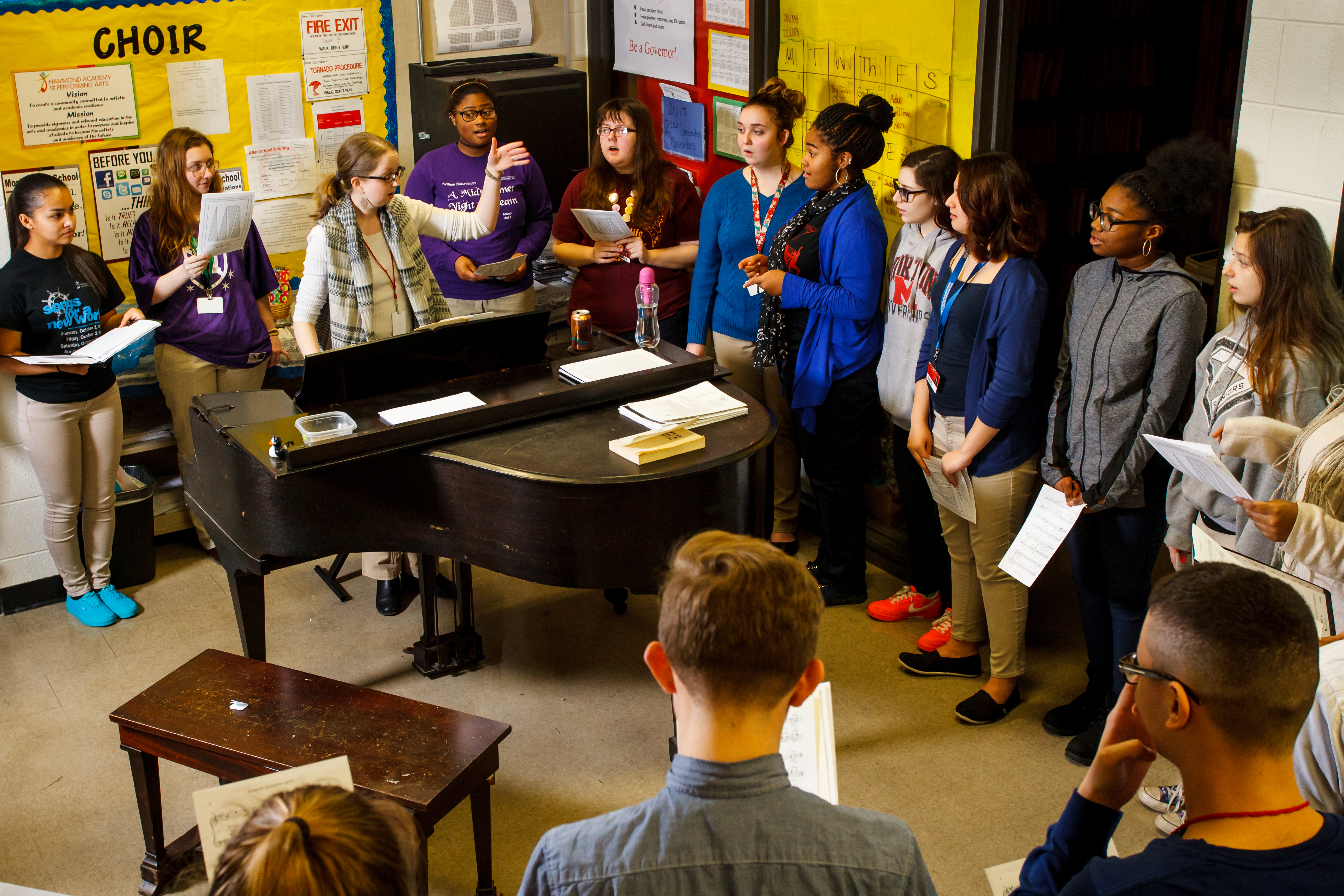 Piano and choir teacher Connie Pruitt at the Hammond Academy for Performing Arts at Morton High School in Hammond, Ind., Monday, March 20, 2017.